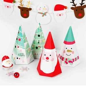 10pcs Christmas Triangular Pyramid Candy Box Gifts Box for Candy Cookie Christmas Party Supplies for Kids JS22