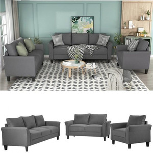 US STOCK Classic High Quality Adults Relaxable U_STYLE Polyester-blend 3 Pieces Sofa Set, Living Room Sets Sofa Beds WY000036EAA