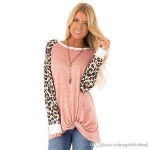 Kol Bayanlar Uzun Tshirts Moda Katı Renk Kadın Tees Yeni Leopard Gevşek Kadın Tshirts Tasarımcı O Yaka Uzun
