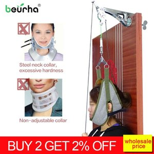 Beurha Neck Massager porte Hanging cervical dispositif de traction réglable tête du rachis cervical massage relaxant Outils Stretcher