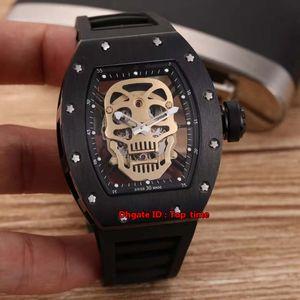 18 Стили Luxury Высококачественные RM52-01 черепа Ceramic Япония Miyota Автоматические Мужские часы Skeleton Циферблат каучуковый ремешок Мужские часы
