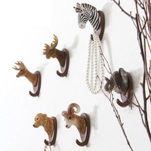 Americano Animal tipo cabeza de gancho colgante del hogar de la pared creativa fuerte sin fisuras gancho Sacar Claves decorativo percha ganchos de la capa