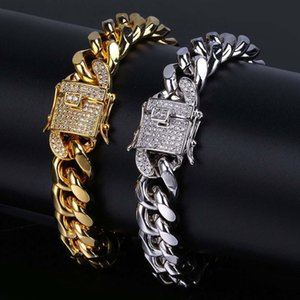 Hip Hop 18K Gold Plated Cuban Chain Bracelet with Diamond Clasp 12 MM Wide For Men Women 8 Inch2019