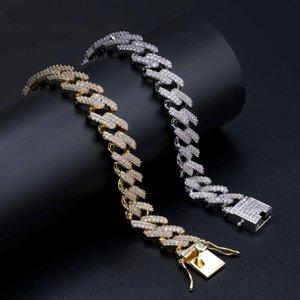 14 milímetros 7 / 8nch Diamantes borda reta Cadeia cubana Fazer a ligação Bracelet Gold Silver Iced Out Cubic Zirconia Hiphop Homens Jóias