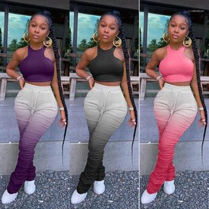 Sexy Sleeveless Gradient Color Long Pant Causal Bodycon Crew Neck Womens Clothing Womens Designer Two Piece Sets Fashion