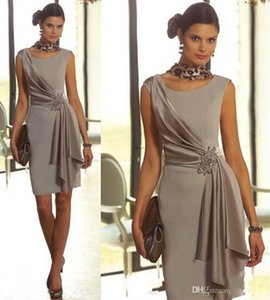 Elegant Short Mother Of the Bride Dresses Sheath With Scoop Neck Cap Sleeve Beaded Formal Bridal Groom Party Evening Gowns Cheap