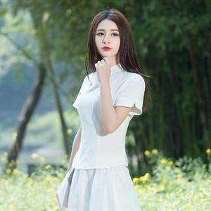 XuJaI G9TqN C6228 ethnischer Stil verbesserte die Top-Frauen-Sommer-Republik cheongsam Ethnic Stehkragen Boxer oben Nationalität China Group soliden