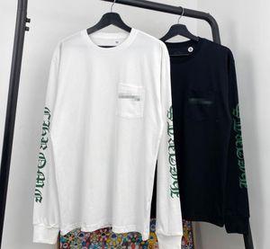 Europäische und amerikanische Trend CH Querphantomdruck langärmelige Männer und Frauen Paare lose beiläufige Allgleiches T-Shirt