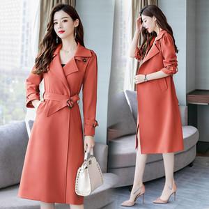 Trench Coats Women Fashion With Belt Women's 2020 Spring Temperament Long Windbreaker Slim Lapel Elegant Wild Outwear Mujer Z847