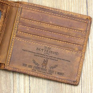 """""""TO MY BOYFRIEND"""" Custom Leather Wallet,Engraved Gifts for men on Birthday,Valentines Day,Christmas Day Drop Shipping Drop Shipping"""