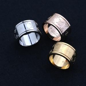 Boutique-Luxus-Designer Schmuck klassische V-Form-Ringe für Frauen Titanium Edelstahl breit 18k Gold überzogene Liebe Ringe breite Hochzeit