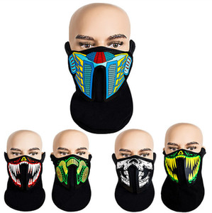 LED Party Mask Light Up Voice Activated Face Mask Sound Control Masks Skull Masks Half Face Facemask Halloween Party Cosplay E81201