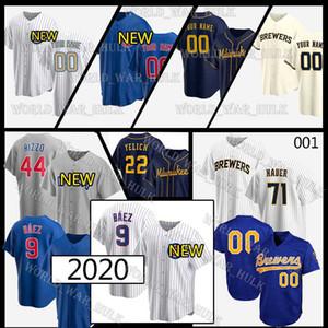 9 Javier Baez Trikots 22 Christian Yelich Cubs 44 Anthony Rizzo Ryne Sandberg 2020 Individuelle Brewers Brandon Woodruff Josh Hader Trevor Geschichte
