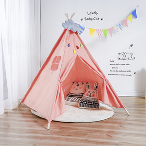 Style Wooden Support Canvas Tent Children Baby Play House Tent Light Roof Tipi Princess Room Teepee Kids