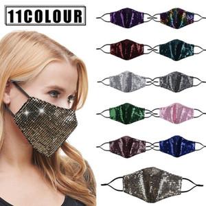 Lentejuelas máscara máscaras de la cara diseñador de moda a prueba de polvo Máscaras reutilizables Protector solar al aire libre respirable de Protección al Adulto boca cara cubierta FWD1026