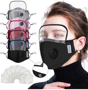 Máscaras 2 em 1 Boca Mask removível Eye Escudo Máscara Facial Crianças Válvula Face Com 2pcs Filtro Pad Anti-poeira máscaras protetoras EEA1901