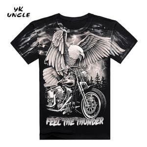Estate di alta qualità 3D per moto e Eagle Printed T shirt in cotone a maniche corte O-Collo T-shirt M-XXXL, YK ZIO