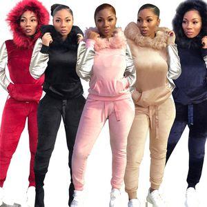 Para mujer trajes de dos piezas del remiendo jogging manera de la piel de manga larga con capucha Solid 2 piezas Conjunto nuevo otoño ropa de las mujeres