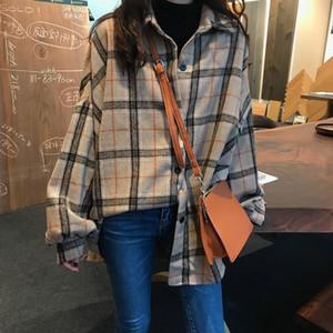 Hot Sale Korean Style Oversized Plaid Shirts Blouse Women Autumn Cotton Blouse Long Sleeve Plus Size Blouses 2020 Button Up Shirt Blusas