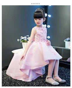 KICCOLY Элегантный Продольный девушки розовый кружевном платье Аппликации Первое причастие платье Baby Girl Формальные Свадебные платья цветка платье uT4e #