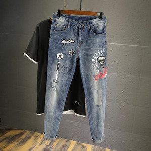 fabricación europea fNN58 BAmmz verano delgada personalizada y online jeans bordados de marca de moda los pantalones vaqueros slim tobillo-perforado de los hombres tramo Embr