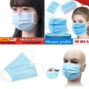 Лица 100/50 / 30шт Descartável Antipoeira De Proteção Pessoal 3ply Ear Loop LIYZU