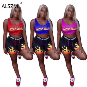 ALSZML simple pure color letter print vet and hot short 2 pieces set high street lady fashion outfits