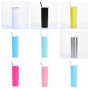 20oz stainless steel skinny tumbler with lid straw 20oz skinny cup wine tumblers mugs double wall vacuum insulated cup water bottle GWB1074