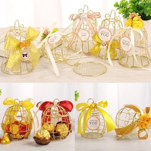 10pcs Fashion Hollowout Gift Box Simple Birdcage Shape Dry Flower Decoration Wedding Party Candy Cookies Wholesale Iron Gift Box