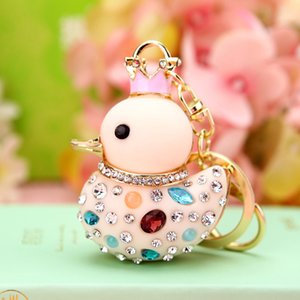 Fashion Duck Key Ring Purse Bag Rhinestone Keyring Keychain Charm Pendant Gift