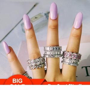 F Choucong design argent 925 diamant Cz Gemstones mariage bande Bague d'éternité pour les femmes d'engagement solide anniversaire de la mode Je