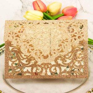 50pcs cartes d'invitation de mariage en or rose découpé au laser Champagne Silver Glitter invitation personnaliser inviter fête d'anniversaire