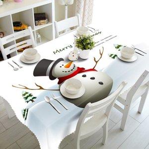 Decorazioni domestiche 3d Tovaglia sveglio di Natale del pupazzo di neve a tema modello lavabile in cotone rettangolari e panno Tavola rotonda di Capodanno