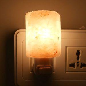 Изысканный цилиндр Natural Rock Salt гималайская соль ночника 7W очиститель воздуха Night Lights Крытый декоративное освещение Amber Wood Base-L