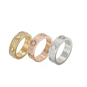 Rose Gold Stainless Steel love Ring With Crystal For Woman Jewelry Rings Men Wedding Promise Rings For Female Women Gift Engagement with box