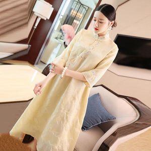 Chinesas Cheongsam oriental do estilo Vestidos Collar Diagonal Jacquard Bordados China Modificado Hanfu Qipao Mulheres vestido de traje para