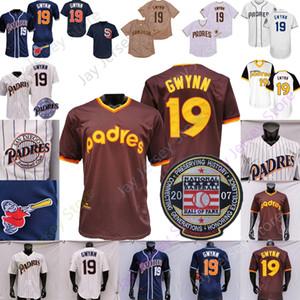 Tony Gwynn Jersey 1982 2007 Hall de baseball de la renommée Passage blanc Pinstripe blanche Bouton Pullover Navy Bouton Away Tous cousus