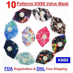 K N 95 Máscara Registro FDA DHL Cubierta libre de la respiración por la boca de la válvula de la mascarilla del respirador vavle Patrón de Máscara