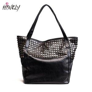 2020 Новая мода Rivet женщин Pu кожаные сумки Женский Леди Larger Емкость мешка плеча высокого качества Горячий черный