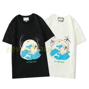 2020 nueva primavera y verano Europa para hombre de impresión ola de mar camiseta de la letra de la moda de impresión de camisetas diseñador de la camiseta para mujer de algodón de manga corta camiseta