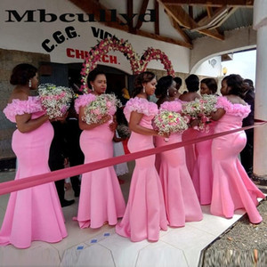Pink Long Bridesmaid Dresses With Ruffles 2020 Mermaid Wedding Guest Dress Sexy Off Shoulder Robe Demoiselle D'honneur