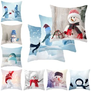 Single-sided Printing Polyester Nordic Decorative Throw Pillows Case Xmas Snowman Square Cushion Cover Sofa Bed Home Decor 2020