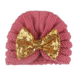 12 шт Детские шапки Аксессуары для новорожденных Baby Girl Boy Winter Beanie Bow Knotted Теплый Cap Вязание Вязаная блесток лук Hat Тюрбан Caps