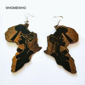 갈색 나무 아프리카지도 부족 새겨진 트로피 칼 패션 블랙 여성 귀걸이 빈티지 레트로 나무 아프리카 힙합 보석 액세서리