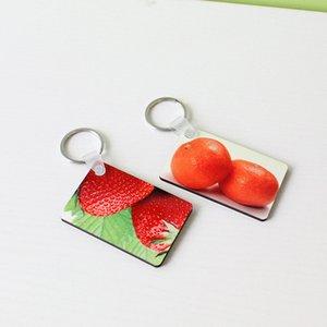 승화 빈 키 체인 MDF 광장 나무 키 펜던트 열전 열쇠 고리 화이트 DIY 선물 60 * 40 * 3mm 키 체인 GWF1817을 더블 양면