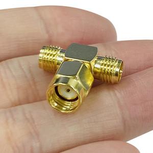 3 Way RF SMA Adapter Splitter RP-SMA maschio a 2 RP-SMA all'adattatore femminile