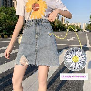 Daisy A- linea denim pannello esterno di un passo nuova linea vita alta snellente A- estate 2020 donne sottili hip-coperto denim skirt EUptR