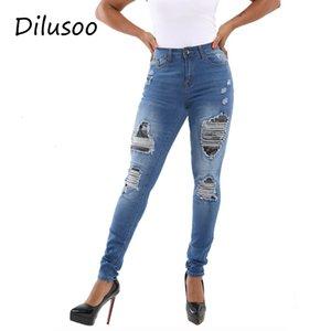 Dilusoo Женщины высокого Упругие отверстия джинсы штаны патч рваные джинсы 4 сезон женщина случайные брюки карандаш брюки 2020