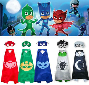PJ MASKS Capes Cloaks With Eye Mask 2pcs set 5 Colors PJ Mask Costumes PJ Characters Cosplay Capes Kids Halloween Party Costume Gifts 300set