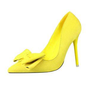 CEVABULE 2020 Moda KADIN AYAKKABI Sivri Sivri Süet Bow Kadın ayakkabı Yüksek topuklu Moda Sweet Fine.ZWM pompaları